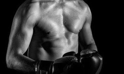 Boxer with strong core and abdominals