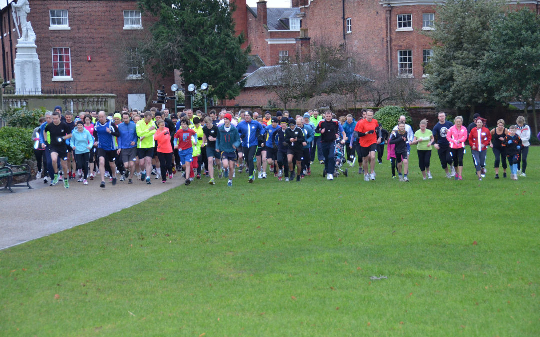 Shrewsbury parkrun start with runners