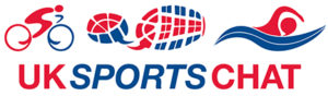 UK Sports Chat Logo - Biker, Shoe and Swimmer