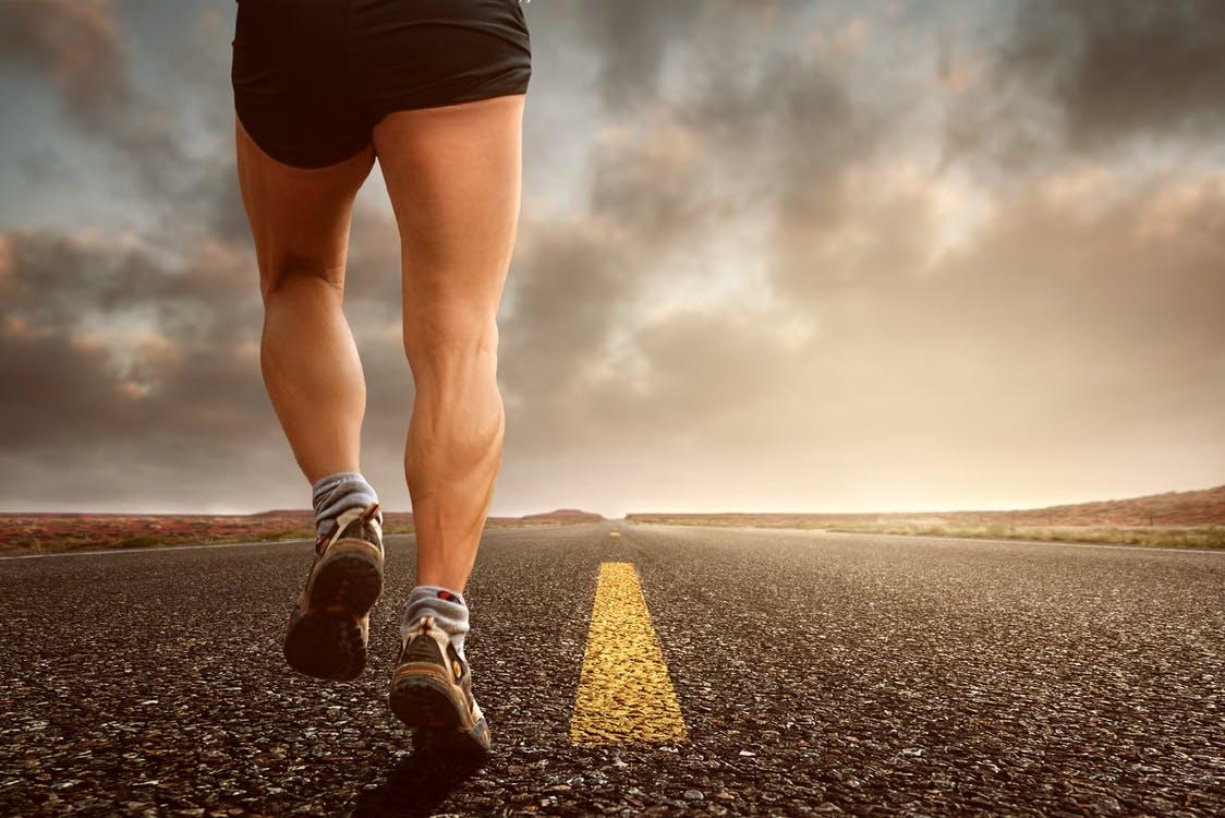 Running on road right leg toe off