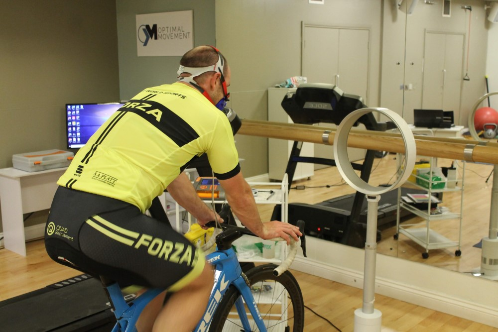 Fitness testing by an athlete on bike